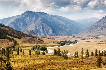 Landscape with The famous mountain river valley Chuya in Altai, Siberia, Russia