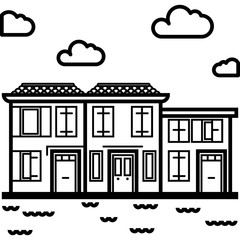 Vector Icon of an italian houses near water in line art style. Pixel perfect. Travel and tourism, visit Italy