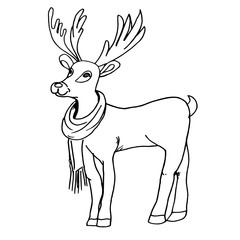 Hand drawn animal illustration with deer, vector. Lovely Christmas deer Rudolph in scarf. Sketch style. Isolated on white background. Deer for prints, postcards, clothes designs, coloring book pages.
