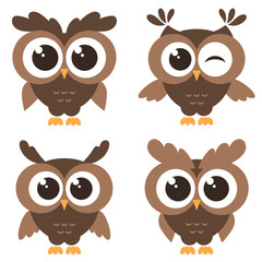 Set of brown funny owls isolated on white