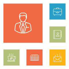 Set Of 6 Bureau Outline Icons Set.Collection Of Post, Hot Drink, Administrator And Other Elements.
