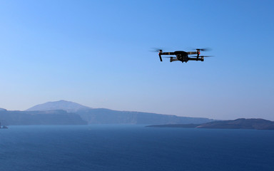Modern Drone Filming View of Santorni Island on Vacation