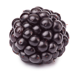 Ripe blackberry isolated on white background with clipping path