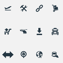 Vector Illustration Set Of Simple Engineering Icons. Elements Reverse, Air Delivery, Bottom Side And Other Synonyms Protect, Mend And Luggage.