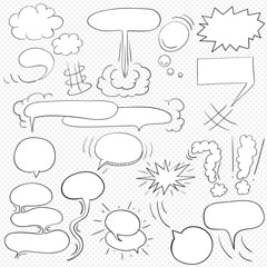 Comic  text clouds in pop art style, set, hand drawn, vector illustration