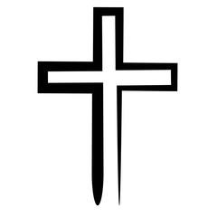 Hand drawn black grunge cross icon