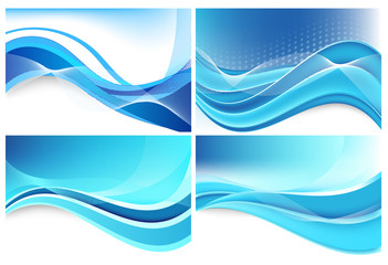Beautiful vector abstract blue background with waves
