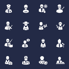 Set Of 16 Position Icons Set.Collection Of Officer, Stylist, Planner And Other Elements.
