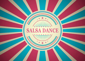 Salsa Dance Retro Vintage Style Stamp Background
