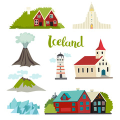 Fototapete - Iceland icons vector collection. Icelandic landmarks for kid. Handdrawn vector illustration