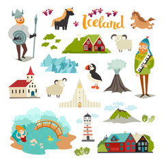 Fototapete - Iceland landmarks vector icons set. Illustrated travel collection. Icelandic travel attraction. Church, houses, puffin, lighthouse and mountains isolated on white background