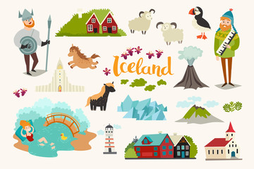 Fototapete - Iceland landmarks vector icons set. Illustrated travel collection. Icelandic travel attraction, isolated on white background