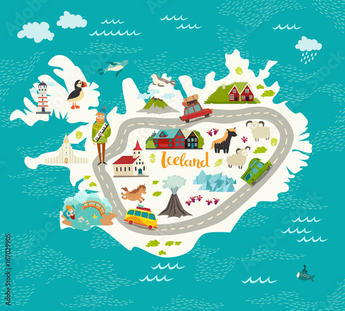 u0026quot iceland map vector illustration  iceland landmarks  road  nature  people and animals u0026quot  stock