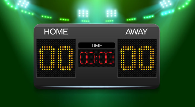 Scoreboard with time and result display and spotlight