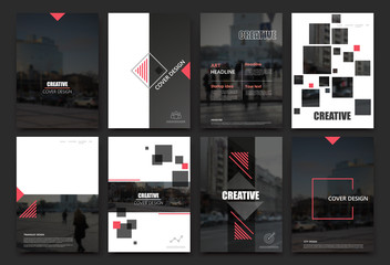 Abstract a4 brochure cover design. Templates for flyer, ad text font, info banner frame or title sheet model set. Modern vector front page art with urban city street texture. Red square figures icon