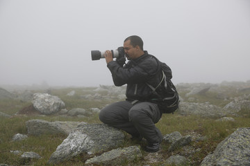 Photographer at Work on Mount Washington, NH