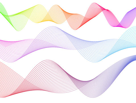 Design element wavy ribbon from many parallel lines44