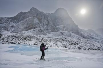 Ski touring, Baffin Island, Nunavut, Canada.