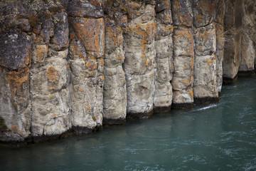 Columnar basalt, Miles Canyon, Yukon River, Whitehorse area, Yukon, Canada.