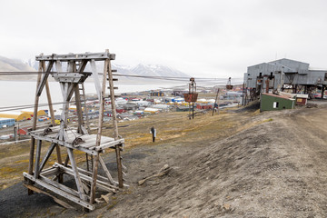 Old cable car for coal transportation in Longyearbyen, Spitsbergen, Svalbard, Norway