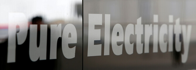 Letters 'Pure Electricity' are seen at bus in Reykjavik