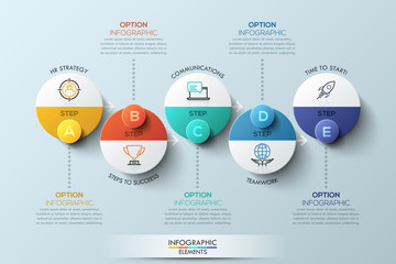Infographic design template with circular elements, 5 steps to success business concept