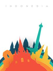 Travel Indonesia 3d paper cut world landmarks