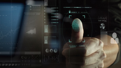 cyber security internet and networking concept.Businessman scanning fingerprint biometric identity for approval with VR interface diagram.