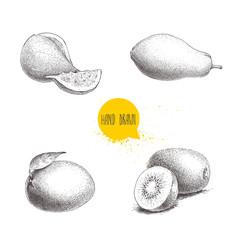 Hand drawn exotic fruits set. Fig fruit, papaya, mango and kiwi fruits. Eco food sketch vector illustration isolated on white background.