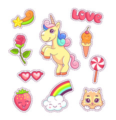 Stickers set pop art comic style with cartoon animals and food, unicorn, kitten, cloud and rainbow