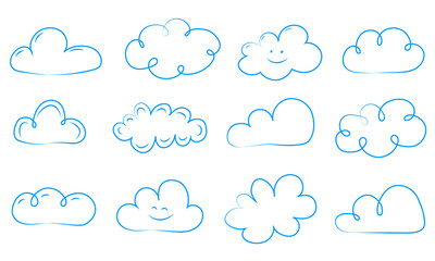 Set of funny hand drawn clouds. Vector.