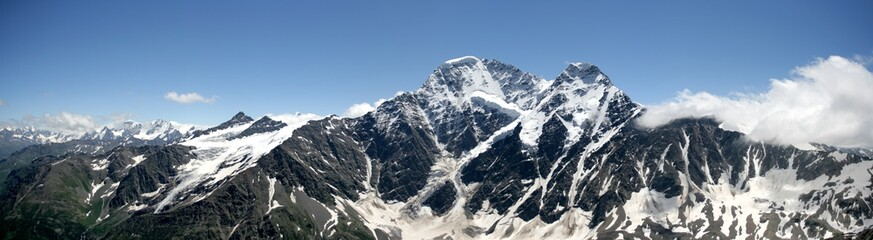 Panoramic view of Glacier Seven on the mountain Donguz-Orunbashi