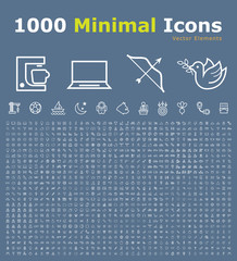 Set of 1000 Isolated Minimal Modern Simple Elegant White Icons. Vector Elements on Color Background