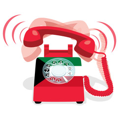 Ringing red stationary telephone with rotary dial and with flag of  Kuwait