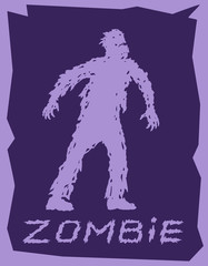Silhouette of a walking zombie concept. Vector illustration.