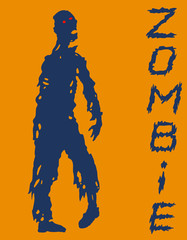 One-armed zombies silhouette in blue and orange colors. Vector illustration.
