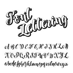 Vector illustration Brush Script. Handwritten Calligraphy Symbols. Black and white lettering. Painted English Alphabet Education. ABC Letters Modern Brushed. Light Background