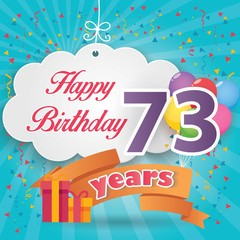 73 rd birthday celebration greeting card origami paper art design, birthday party poster background with clouds, balloon, ribbon and gift box full color. seventy three anniversary celebrations