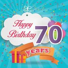 70 th birthday celebration greeting card origami paper art design, birthday party poster background with clouds, balloon, ribbon and gift box full color. seventy anniversary celebrations