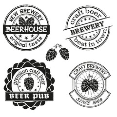 Vintage brewery logo, emblems and badges set. Collection of vintage brewing company labels.