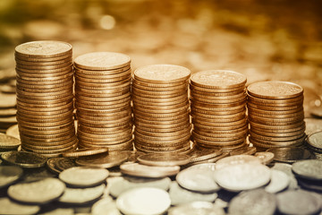 Financial background with stacked coins.