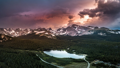 Brainard Lake Recreation Area Indian Peaks Colorado at Sunset