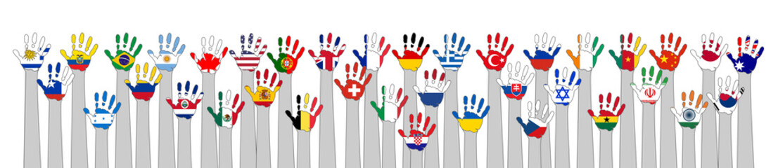 world flags with hands