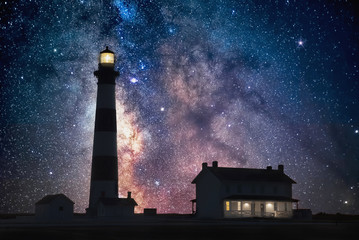 milkyway core over lighthouse, outer banks north carolina Wall mural