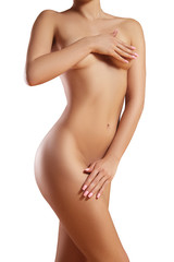 Beatiful body shapes. Slim waist, flat belly, soft clean skin. Perfect female body. Sexy curves, sport form. Healthcare