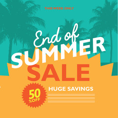 End of Summer Sale poster flyer, marketing or banner background template with fun pool floats. EPS 10 vector.