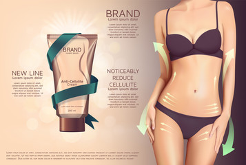 Design of web banner with anti-cellulite cream in tube. Advertising of means for care of body skin for women. Concept vector illustration of cosmetic cream.