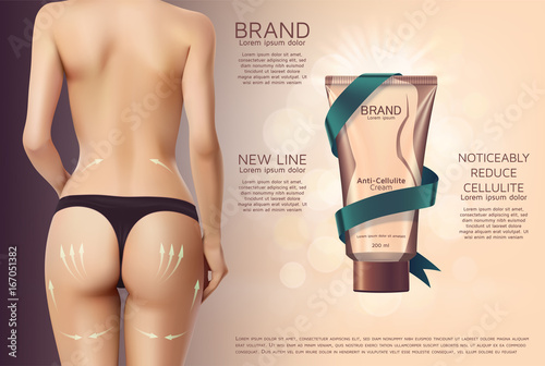 Design of web banner with anti-cellulite cream in tube. Advertising of  means for care of body skin for women. Concept vector illustration of  cosmetic cream. cc783ebf1