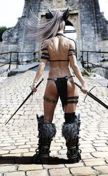 Hardened warrior female awaiting her challenger at the gate. Fantasy 3d rendering.