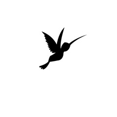 Vector sign silhouette of a hummingbird